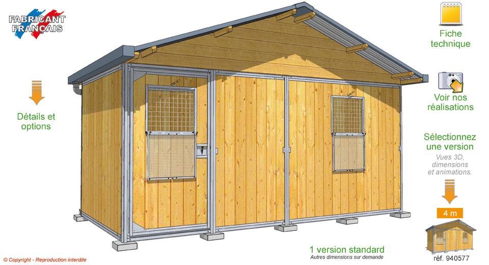 Chalet abri de jardin for Dog kennel systems
